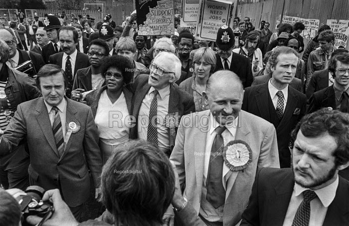 Michael Foot on an election walkabout in Brixton, South London, 1983 accompanied by Lambeth council leader Ted Knight (L) and Labour MP John Fraser - Peter Arkell - 1983-05-30