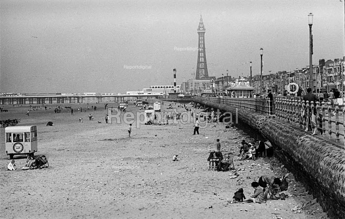 Blackpool beach during the Ashton-under-Lyne Wakes Week, August 1970 - no longer as crowded as it once was - Martin Mayer - 1970-08-10