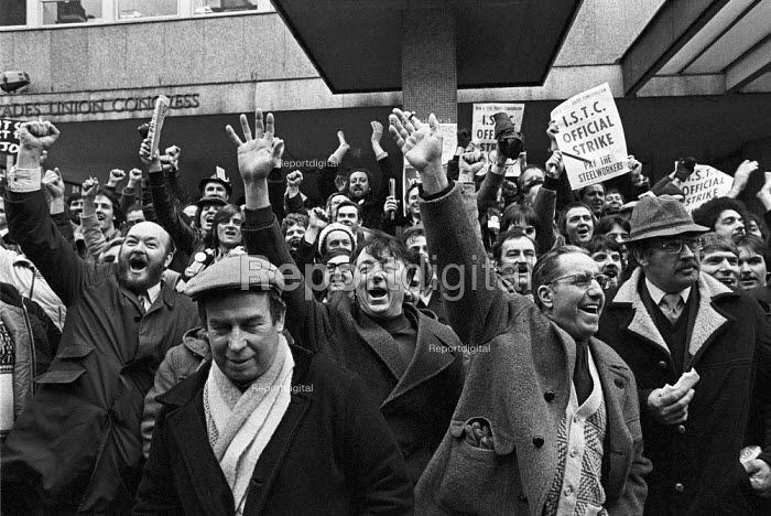 Steel strike 1980 Steelworkers lobby the TUC in support of their pay claim for a 20 rise London - Martin Mayer - 1980-02-14
