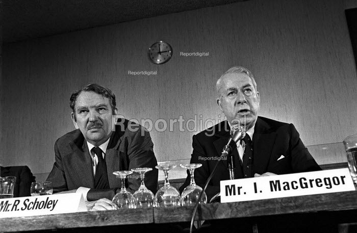 Steel strike 1980 BSC Bob Scholey and Ian MacGregor, management press conference, London - Martin Mayer - 1980-01-21