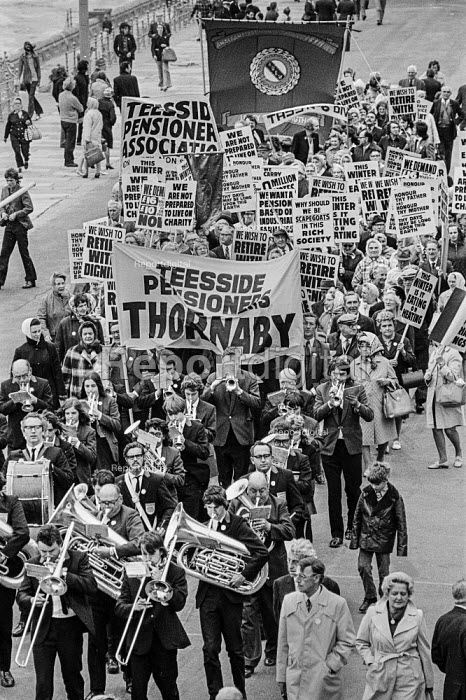Pensioners protesting for higher pensions TUC conference, Blackpool 1973 Brass band, Teeside Pensioner Association and AEEU banners - Martin Mayer - 1973-09-02