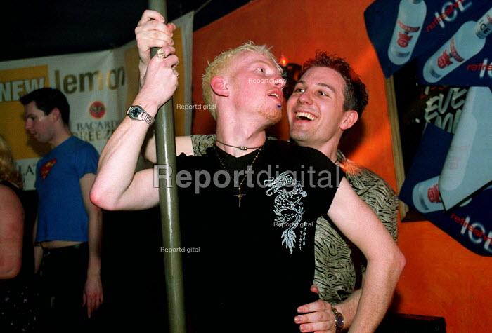 Dancing at Rockies Bar, a gay bar, Newcastle Upon Tyne. - Mark Pinder - 2000-04-07