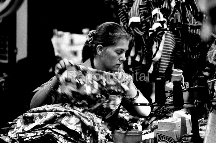 Female worker at textile factory in County Durham. ... - Mark Pinder - 1994-02-02