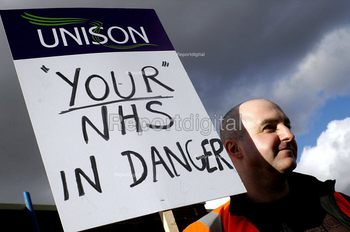 Joint health unions NHS Together protest against government policy and cuts in the health service. Sunderland Royal Infirmary, 3/3 2007. Unison banner. - Mark Pinder - 1999-06-08
