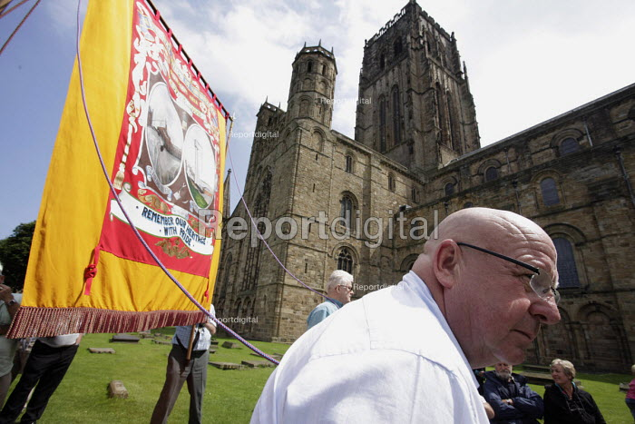 Miners and NUM banner waiting in line to go into Durham Cathedral for the traditional miners rememberance service at the 2009 Durham Miners Gala, Durham. - Mark Pinder - 2009-07-11