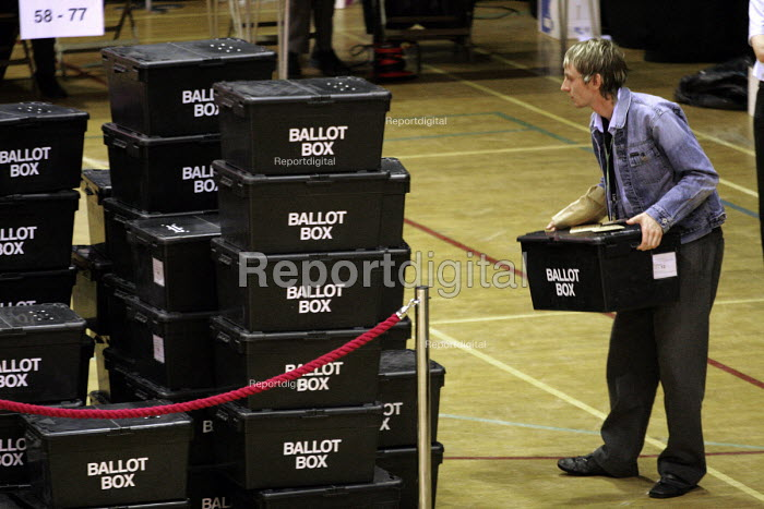 An election official with a ballot box at the election count in Tony Blair's sedgefield constituency.