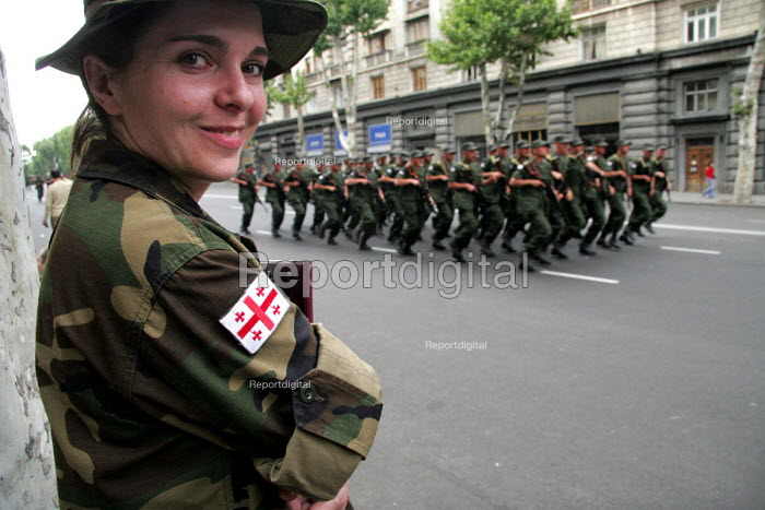 The Georgian military go through a rehearsal for the Georgian Independence Day parade which is held every year on the 26th May. Tbilisi, Republic of Georgia, 24/5 2005. - Mark Pinder - 2005-05-24