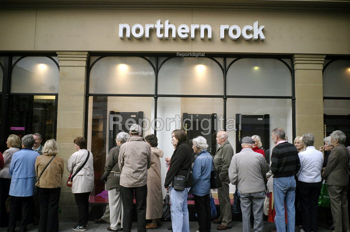 Northern Rock Bank liquidity crisis. Savers with the Northern Rock Bank queue outside the Bank's Market Street branch in Newcastle Upon Tyne, the city in the north of England where the bank is headquartered. - Mark Pinder - 2007-09-17
