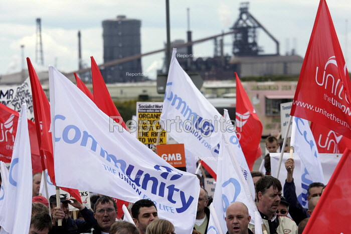 Around 3500 steelworkers, their families and other trade union members marched through the town of Redcar on the Cleveland coast to protest at huge jobcuts by Corus in the British steel industry where to 2,000 jobs at the Teesside Cast Products factory alone are at risk after an international consortium pulled out of a 10-year-deal to buy its steel.