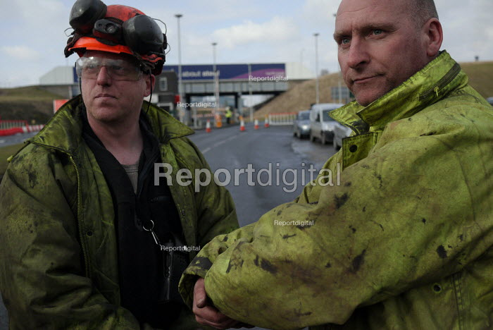 Workers and their families from the Tata/Corus Teesside Blast Products steelworks in Redcar gather for a rally at the works gates on the day that the first of 1600 redundancies took effect with the mothballing of the plant. 19/2 2010. - Mark Pinder - 2010-02-19