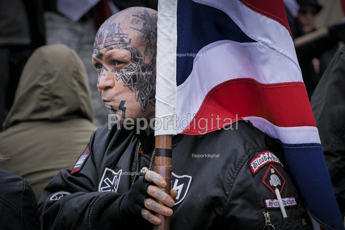 SS sig rune (or Siegrune), Hagall and Blood And Honour Totenkopf insignia. An alliance of fascist groups including the British Movement, National Alliance and Azov, the White Man March, Newcastle Upon Tyne - Mark Pinder - 2015-03-21