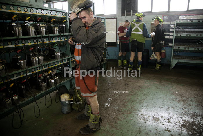 Miners at Kellingley Colliery, (The Big K), near Pontefract in East Yorkshire, in the lamp room prior to going on shift. Knottingley. - Mark Pinder - 2009-02-27