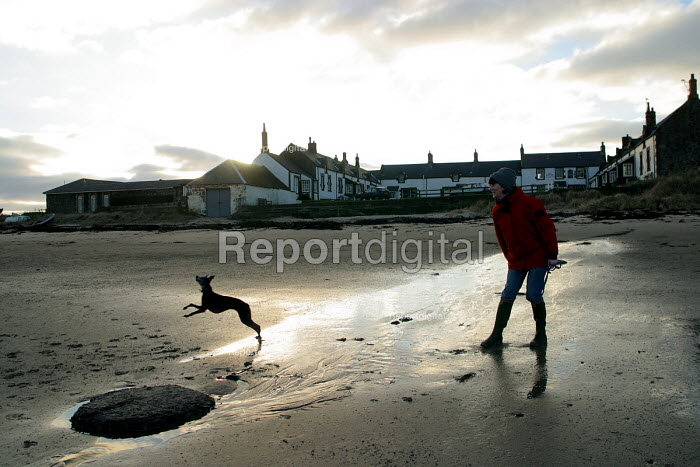 A woman walks her dog on the beach, Low Newton, Northumberland. A small rural village beside the sea. Once a fairly vibrant community which is in decline as residents take advantage of rising property prices and sell up to urban dwellers seeking weekend holiday properties. - Mark Pinder - 2003-01-07