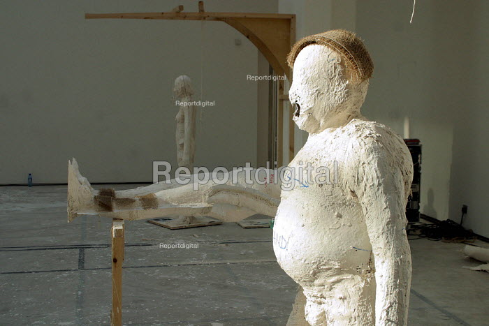 Anthony Gormleys Domain Field under construction at the Baltic Art Gallery, Gateshead Tyne and Wear.240 people Newcastle and Gateshead are having plaster moulds made of them for an artwork to be shown in the Baltic from 5/2003. Gormley wants a cross-section of ages and body types right across the spectrum from which sculptures will be made from welded steel bars. - Mark Pinder - 2003-02-21