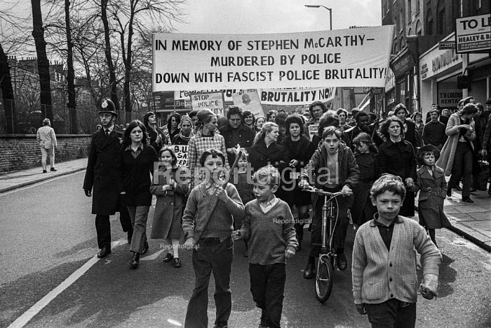 Family and supporters of 20-year-old Stephen McCarthy march in protest at alleged police brutality during his arrest in Upper Street, Islington, London after which he died in police custody. - NLA - 1971-03-21