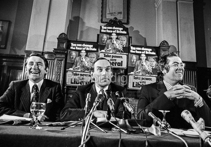 David Steel, Jeremy Thorpe, John Pardoe Liberal Party press conference 1974 General Election - NLA - 1974-09-17