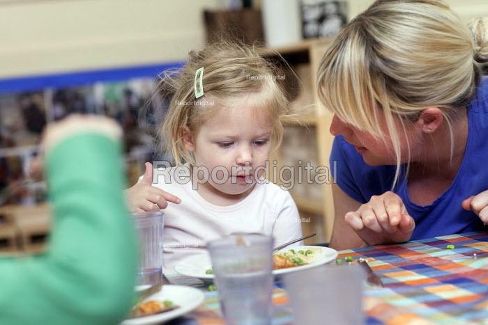 Children eating their lunch, Norland Nursery, Bath. - Paul Box - 2012-06-27