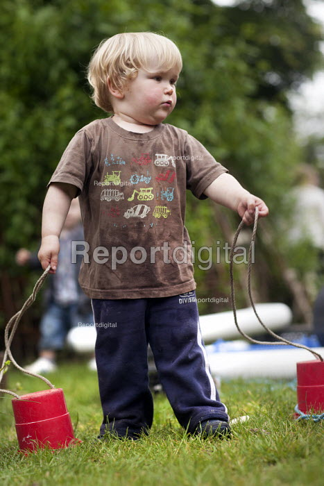 Children playing outside, Norland Nursery, Bath. - Paul Box - 2012-06-27