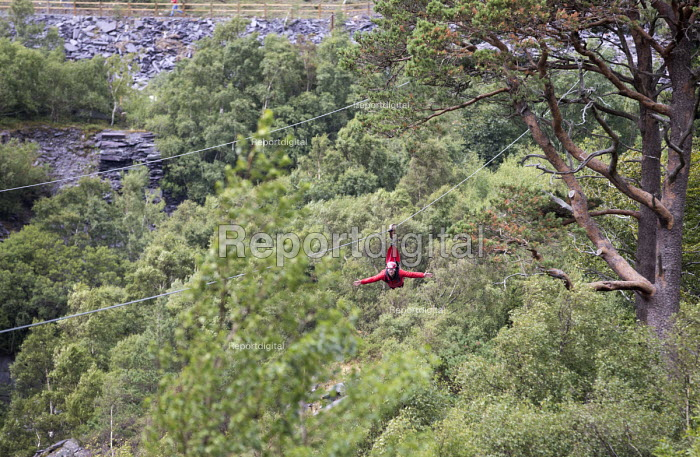 Zip World Velocity, longest and fastest zip line in Europe, Penrhyn Quarry, Bethesda, North Wales - Paul Box - 2013-08-13