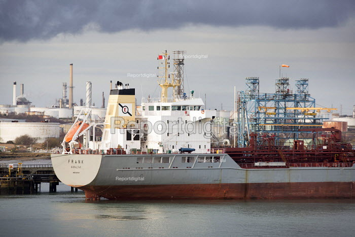 An oil tanker berthed at a terminal, Fawley Refinery, Oil refinery, Southampton Water. - Paul Box - 2015-01-07
