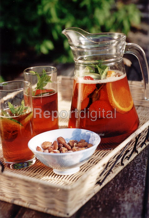 pimms and lemonade on table in summer - Paul Box - 2001-06-25