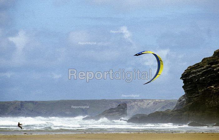 Kite surfer Watergate beach Cornwall - Paul Box - 2002-06-07