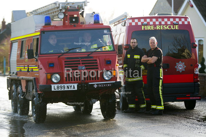 The fire service at Moorland, on the Somerset levels. - Paul Box - 2014-02-07