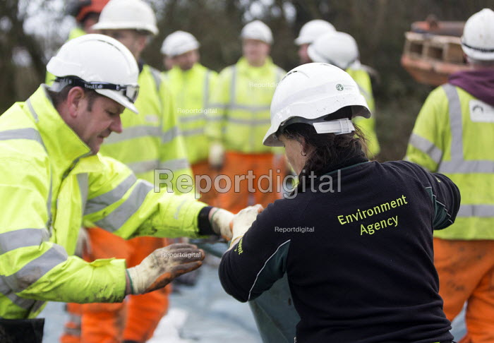 Environment agency work with contractors May Gurney, part of Kier group laying sand bags at Moorland , on the Somerset levels. - Paul Box - 2014-02-07