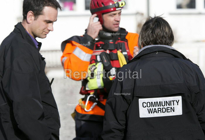 Norfolk fire and rescue service are told by the community warden of a resident that needs assistance in Datchet , Berkshire which has been flooded after the Thames burst its banks. - Paul Box - 2014-02-13