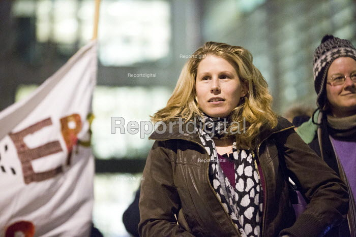 Caroline Criado-Perez journalist and feminist activist Protest outside The Home Office, Shine a light on Yarl's Wood and the indefinite detention of refugee women in the UK campaign - Paul Box - 2014-02-13