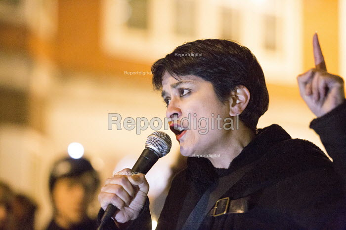 Shami Chakrabarti director of Liberty the national council for civil liberties Protest outside The Home Office, Shine a light on Yarl's Wood and the indefinite detention of refugee women in the UK campaign - Paul Box - 2014-02-13