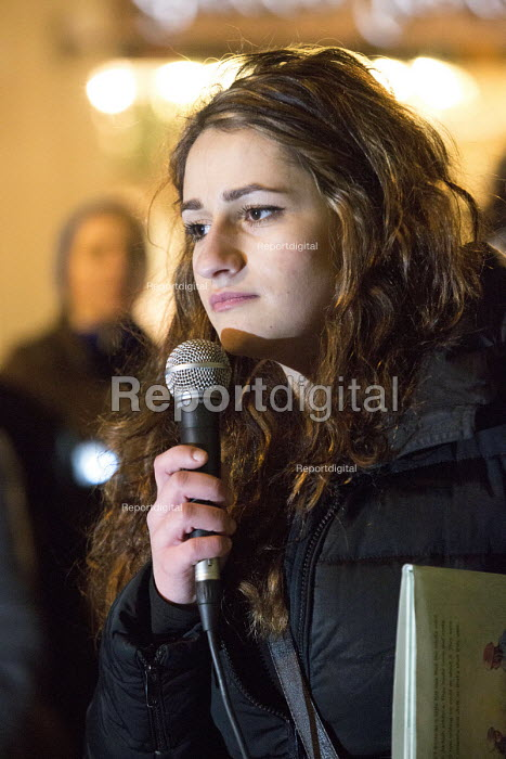 Meltem Avcil, who was held in Yarl's Wood detention centre at the age of 13, Protest outside The Home Office, Shine a light on Yarl's Wood and the indefinite detention of refugee women in the UK campaign - Paul Box - 2014-02-13
