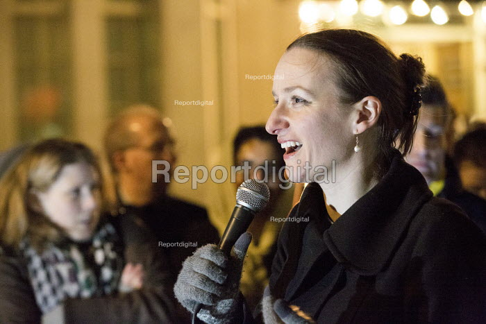 Kate Smurthwaite stand-up comedian and political activist Protest outside The Home Office, Shine a light on Yarl's Wood and the indefinite detention of refugee women in the UK campaign - Paul Box - 2014-02-13