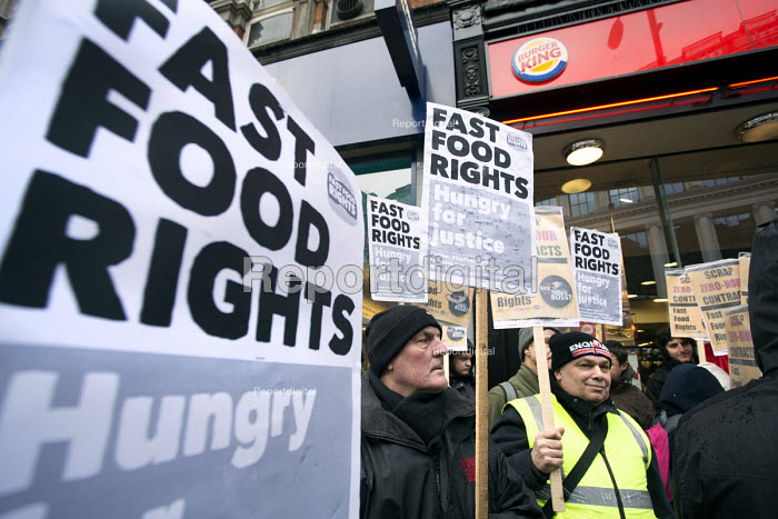 The launch of fast Food Rights campaign Oxford street, London - Paul Box - 2014-02-15