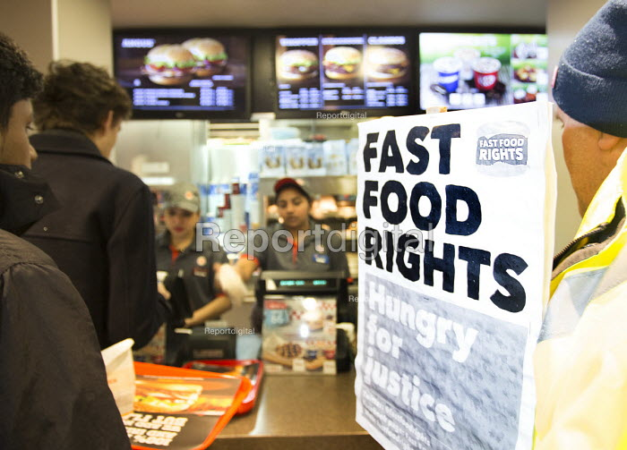 Launch of the Fast Food Rights campaign, in Burger King, Oxford street, London - Paul Box - 2014-02-15
