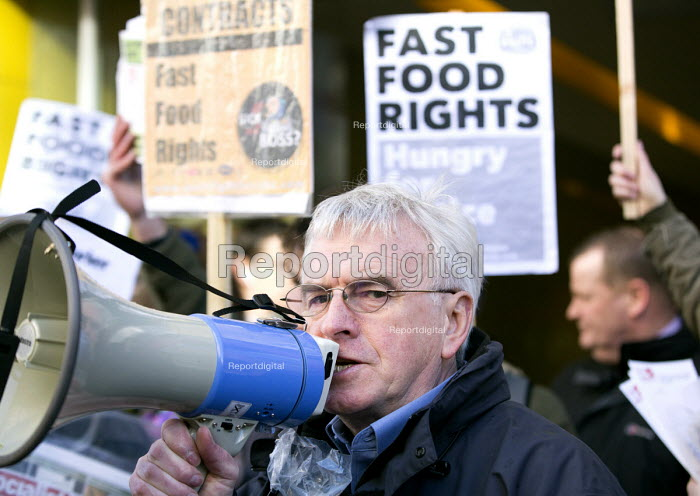 John McDonnell MP outside McDonalds, Launch of the Fast Food Rights campaign Oxford street, London - Paul Box - 2014-02-15