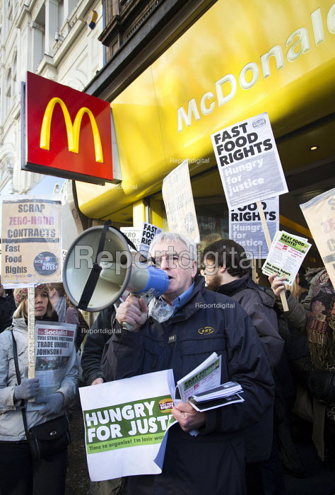John McDonnell MP outside McDonald's, Launch of the Fast Food Rights campaign Oxford street, London - Paul Box - 2014-02-15