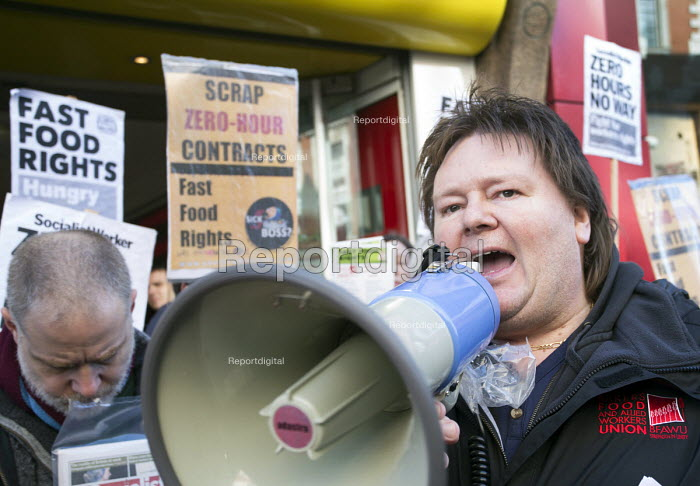 Ian Hodson, BFAWU, outside McDonald's. Launch of the Fast Food Rights campaign Oxford street, London - Paul Box - 2014-02-15