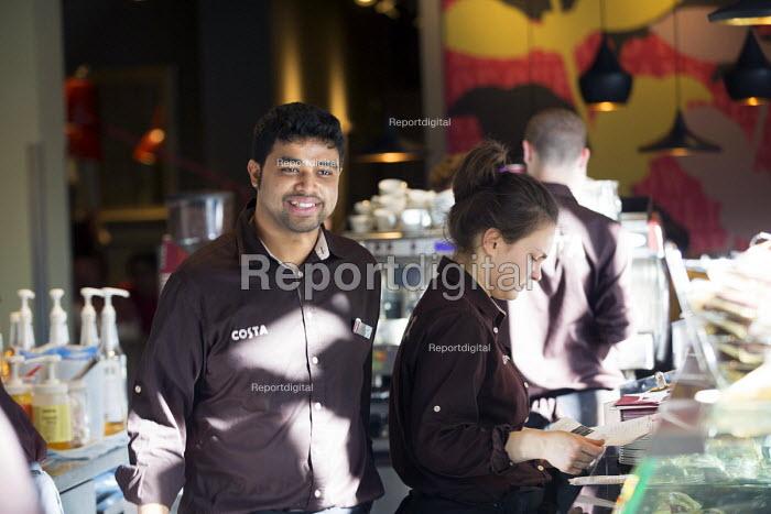 Staff at Costa Coffee, Oxford Street, London - Paul Box - 2014-02-15