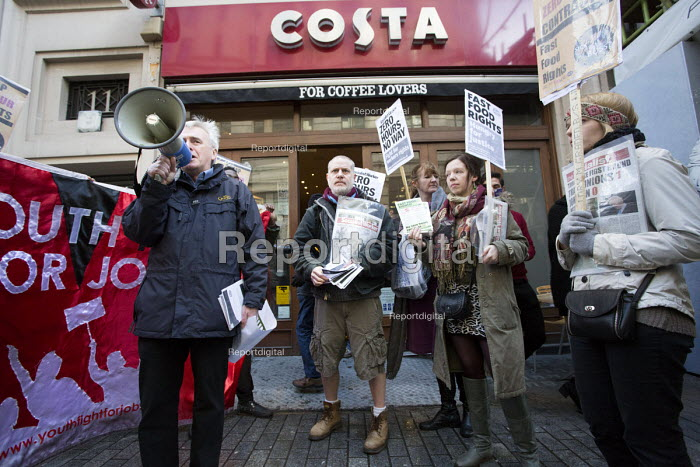 John McDonnell MP outside Costa coffee. Launch of the Fast Food Rights campaign Oxford street, London - Paul Box - 2014-02-15