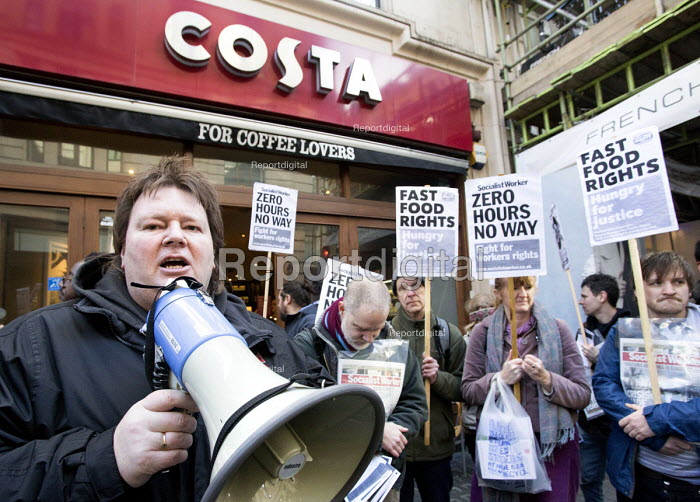Ian Hodson, BFAWU outside Costa coffee. Launch of the Fast Food Rights campaign Oxford street, London - Paul Box - 2014-02-15