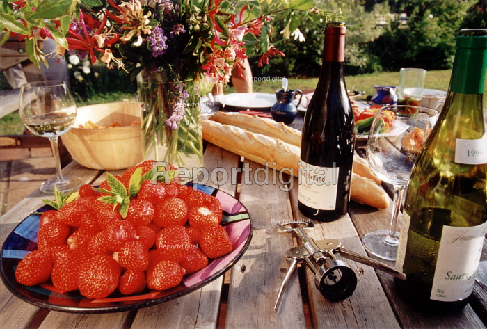 Food and wine on table in summer in the garden - Paul Box - 2001-06-25