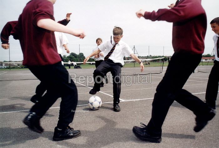 Pupils of Hanham High School, Bristol playing football - Paul Box - 2001-06-15