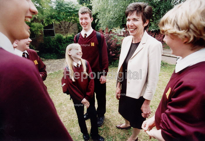Pupils of Hanham High School, Bristol laughing with headmistress - Paul Box - 2001-06-15