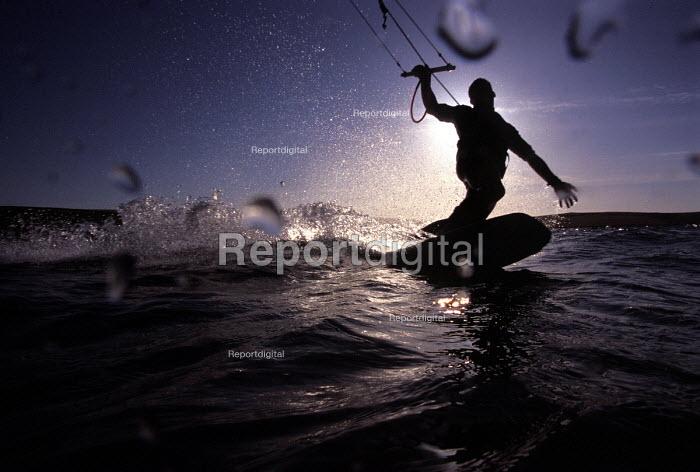 Kite surfer Aberaron Beach New Quay Cornwall - Paul Box - 2002-09-14