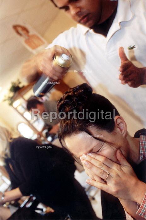 Hairdresser working in a hairdressers Salon, Bristol - Paul Box - 2000-07-14