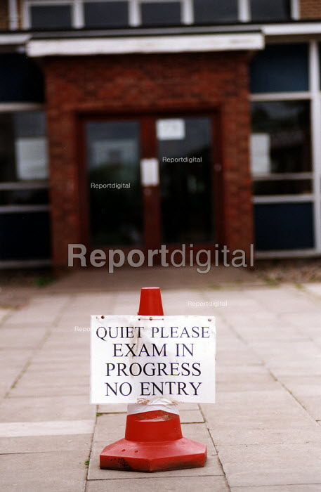 Sign Quite please Exam in progress no entry outside school. Nailsea Community School Bristol. - Paul Box - 2002-06-15