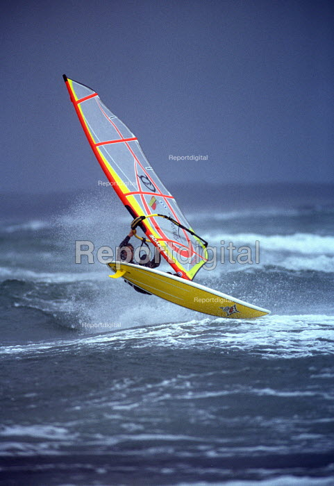 Windsurfer taking off, Weston super Mare. - Paul Box - 2002-09-14