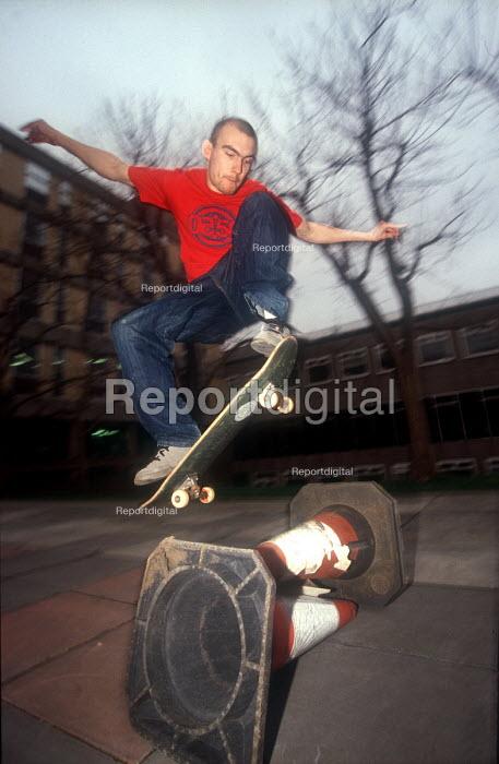 Skateboarder jumping cones, Bristol - Paul Box - 2002-07-14