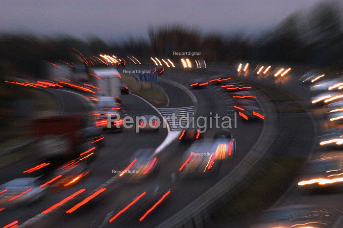 Motorway traffic at dusk , Bristol - Paul Box - 2003-11-01